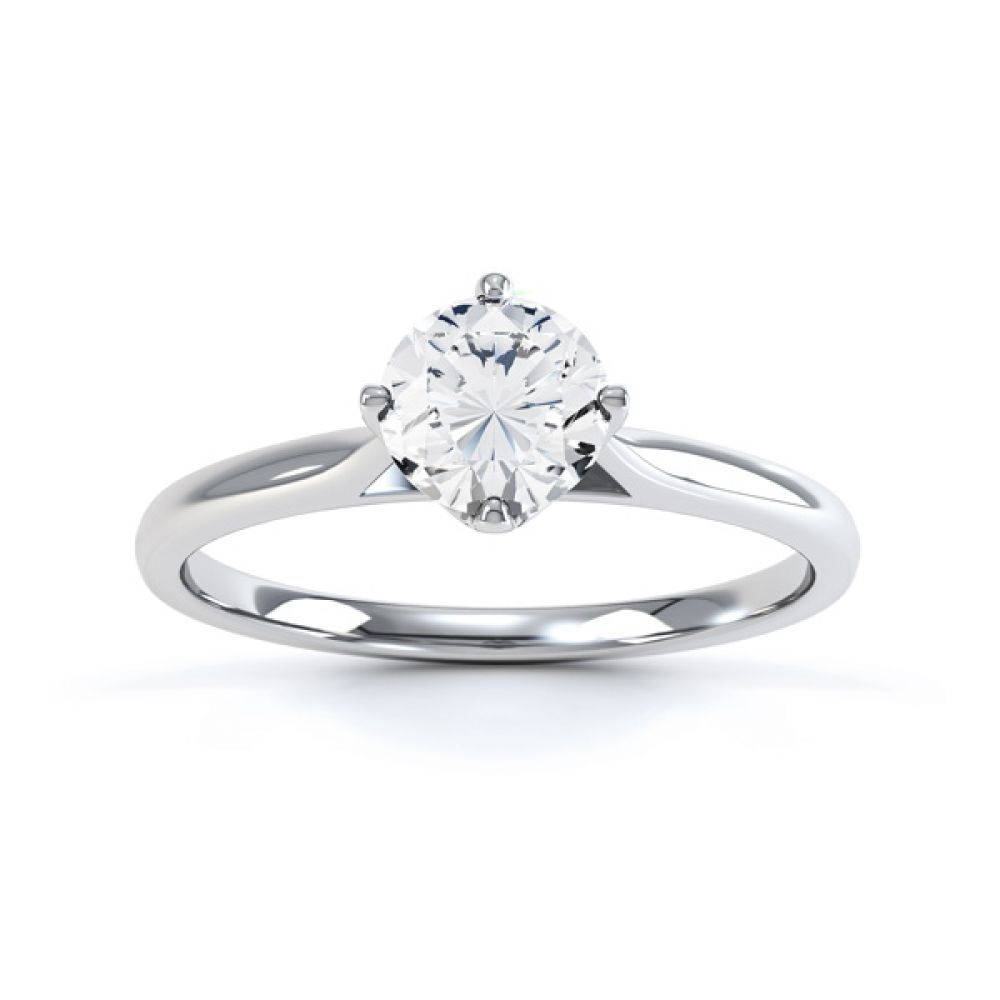 4 Claw Wedfit Compass Set Solitaire Ring Front View