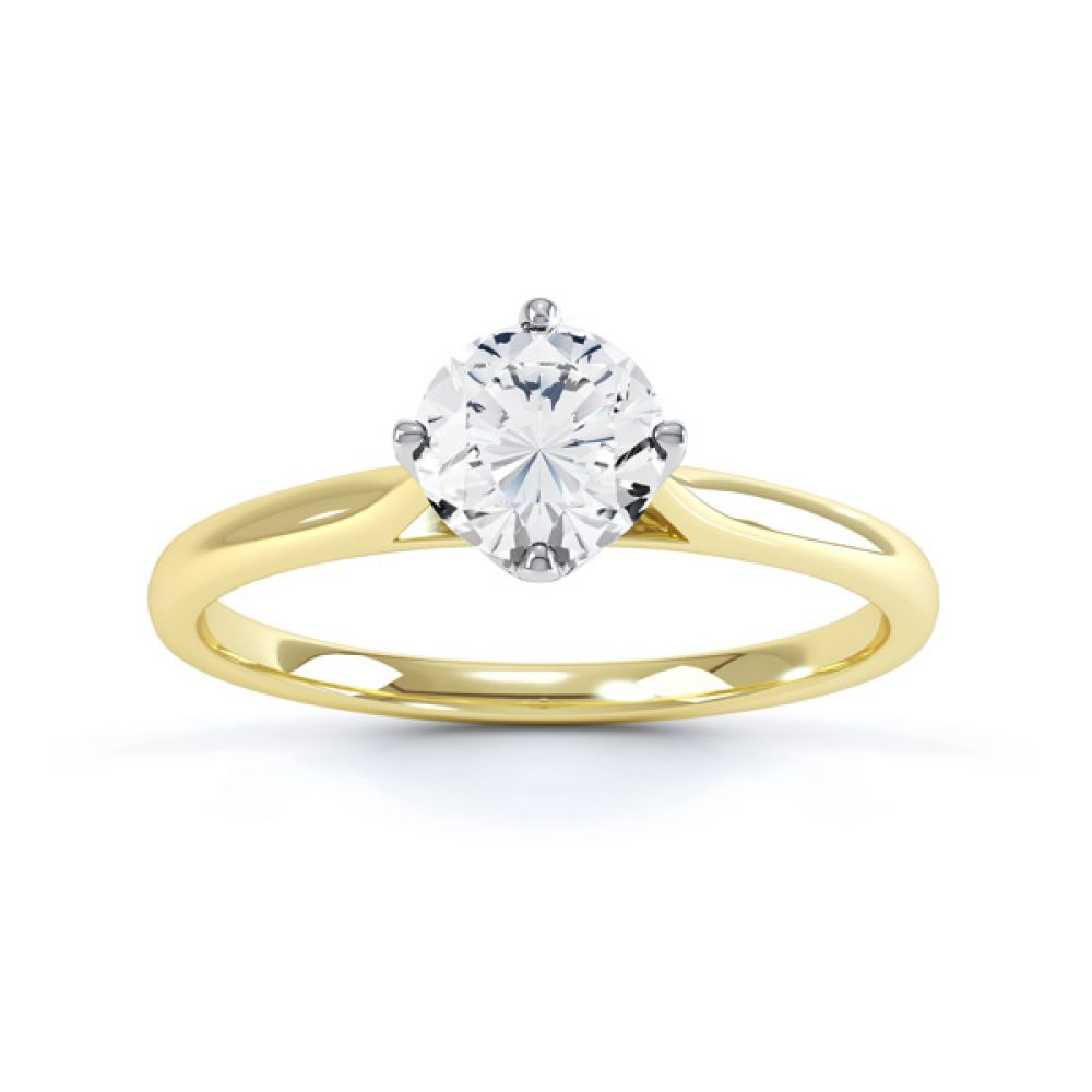 4 Claw Wedfit Compass Set Solitaire Ring Front View In Yellow