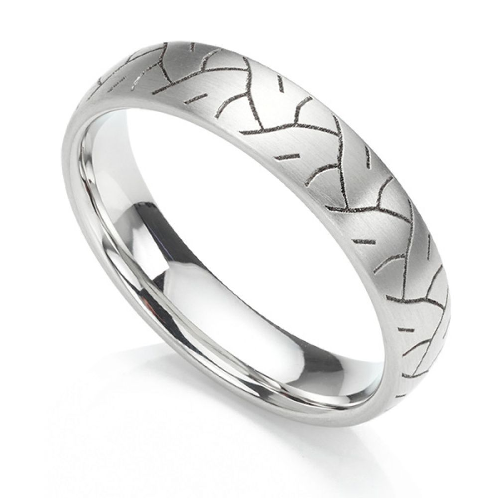 Tyre print laser engraved wedding ring shown in a 5mm width