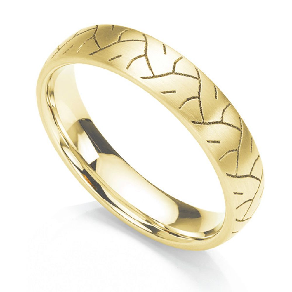 Tyre print laser engraved wedding ring in 18ct yellow gold Tyre print laser engraved wedding ring shown in a 5mm width