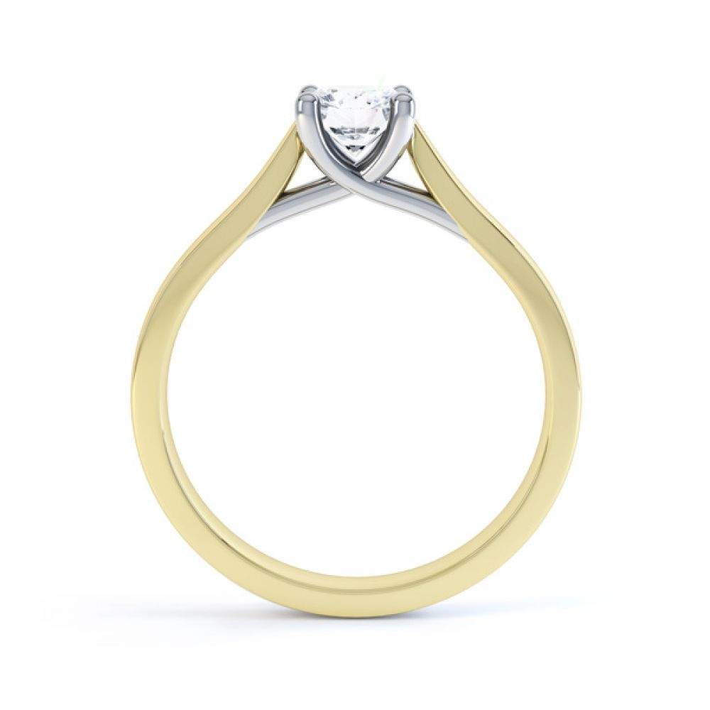 Wedfit Lucida Style Round Solitaire Engagement Ring Side View In Yellow Gold
