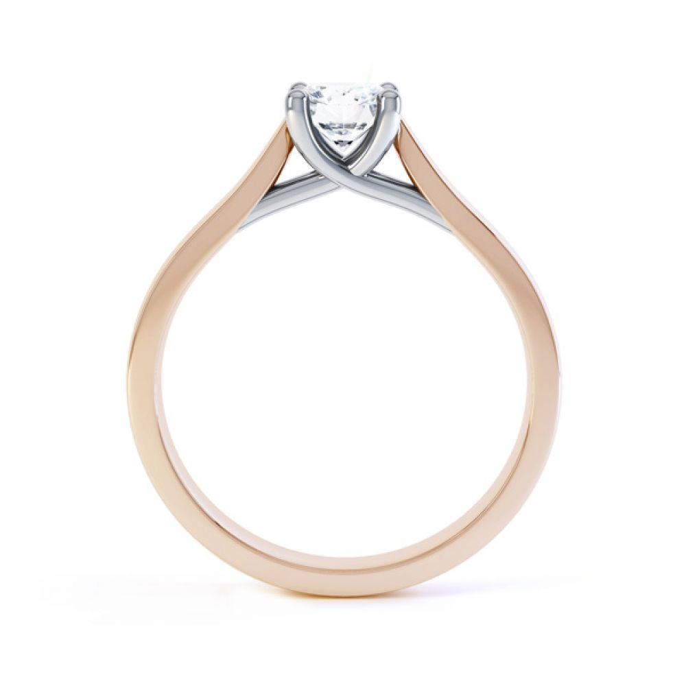 Wedfit Lucida Style Round Solitaire Engagement Ring Side View In Rose Gold