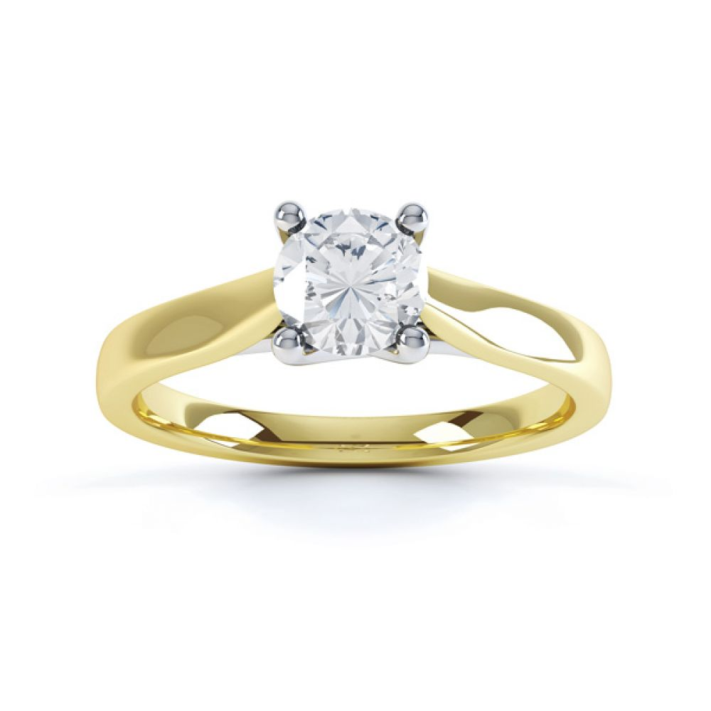 Wedfit Lucida Style Round Solitaire Engagement Ring Top View In Yellow Gold