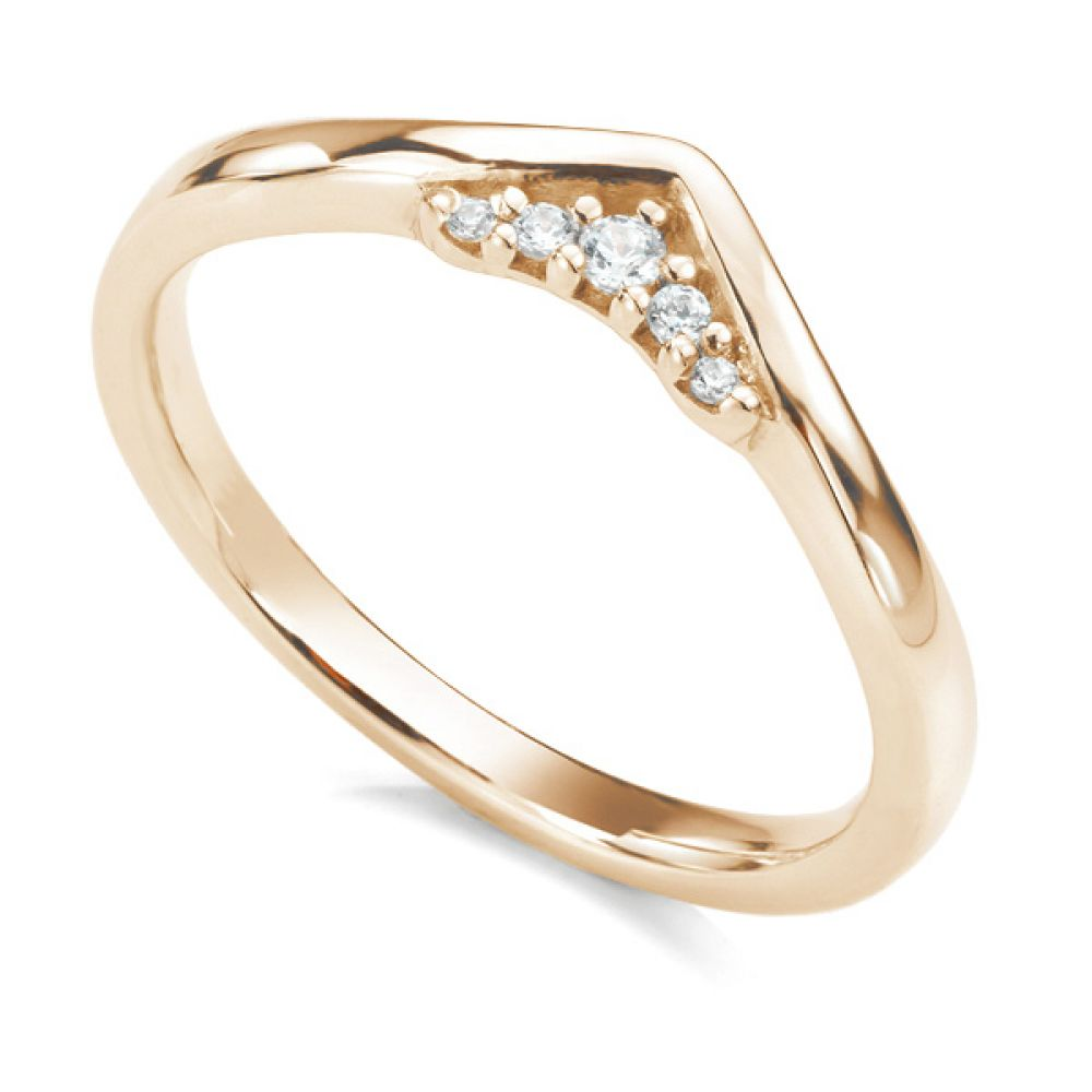 Coronet diamond wedding ring in rose gold