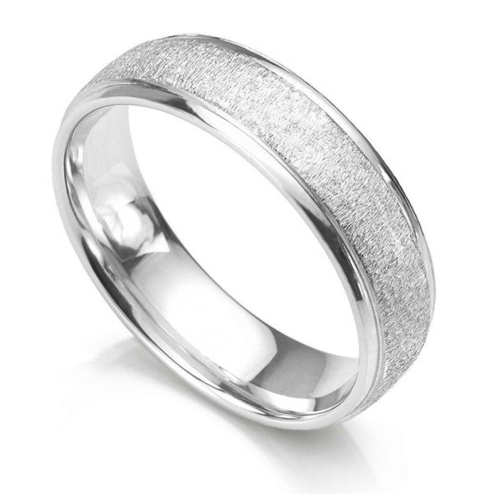 6mm slight court wedding ring with frost texture and polished edges white gold