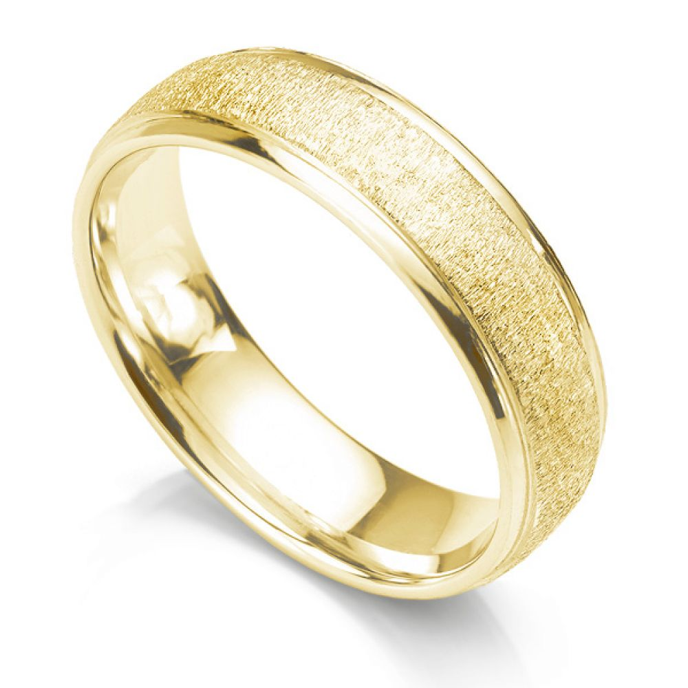6mm slight court wedding ring with frost texture and polished edges yellow gold