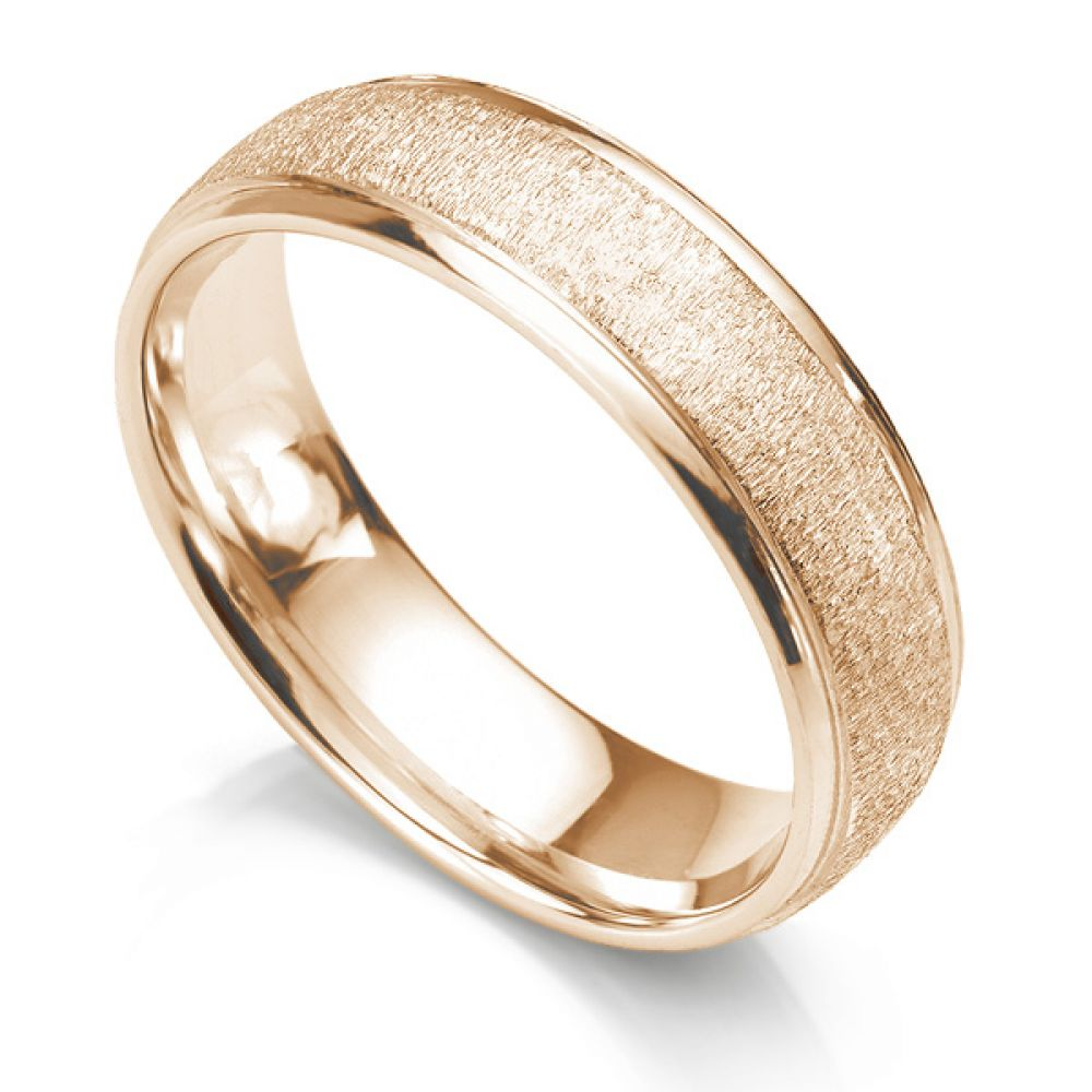 6mm slight court wedding ring with frost texture and polished edges rose gold