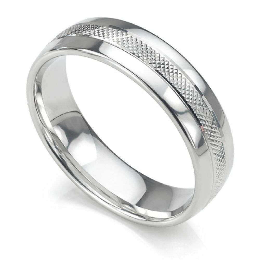 Court shaped 6mm wedding ring with central cross hatched textured pattern in white gold
