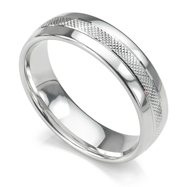 Cross Hatch Patterned Wedding Ring Main Image