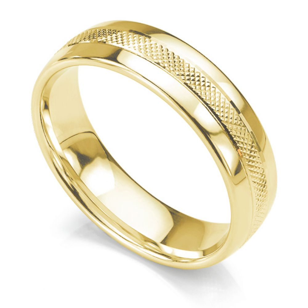 Court shaped 6mm wedding ring with central cross hatched textured pattern in yellow gold