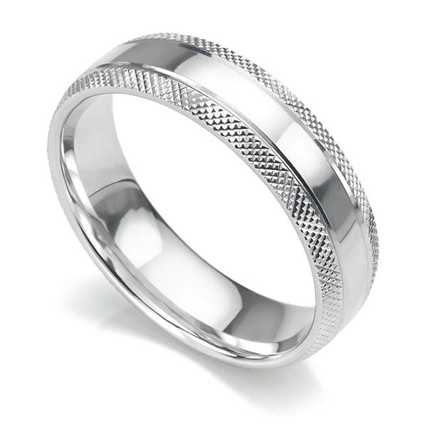 Cross Hatched Pattern Wedding Ring Main Image