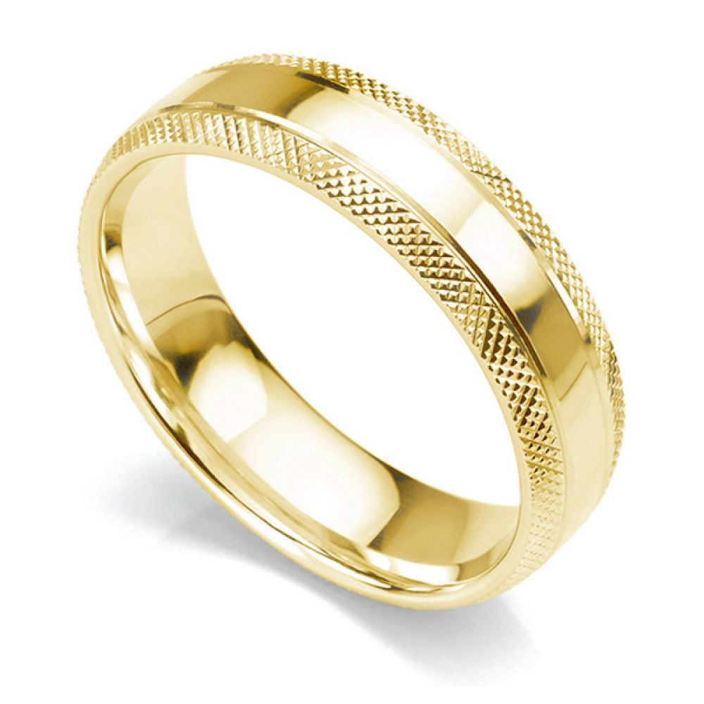 6mm court shaped wedding ring with edges cross-hatch patterned either side of a central polished section in yellow gold