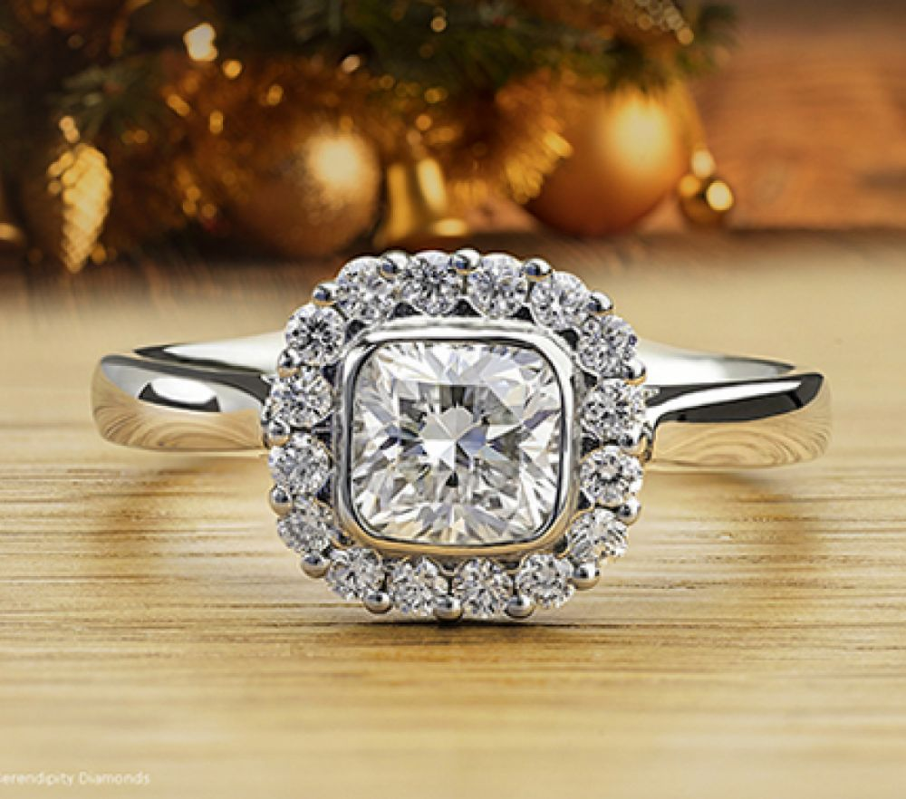 Eclipse cushion cut diamond engagement ring
