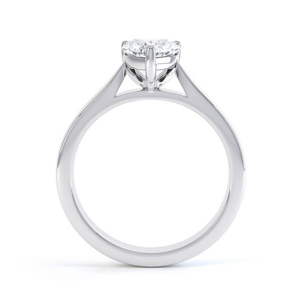 Side View Kama Heart Solitaire Engagement Ring White Gold