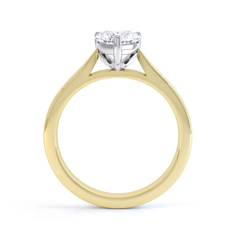 Side View Kama Heart Solitaire Engagement Ring Yellow Gold