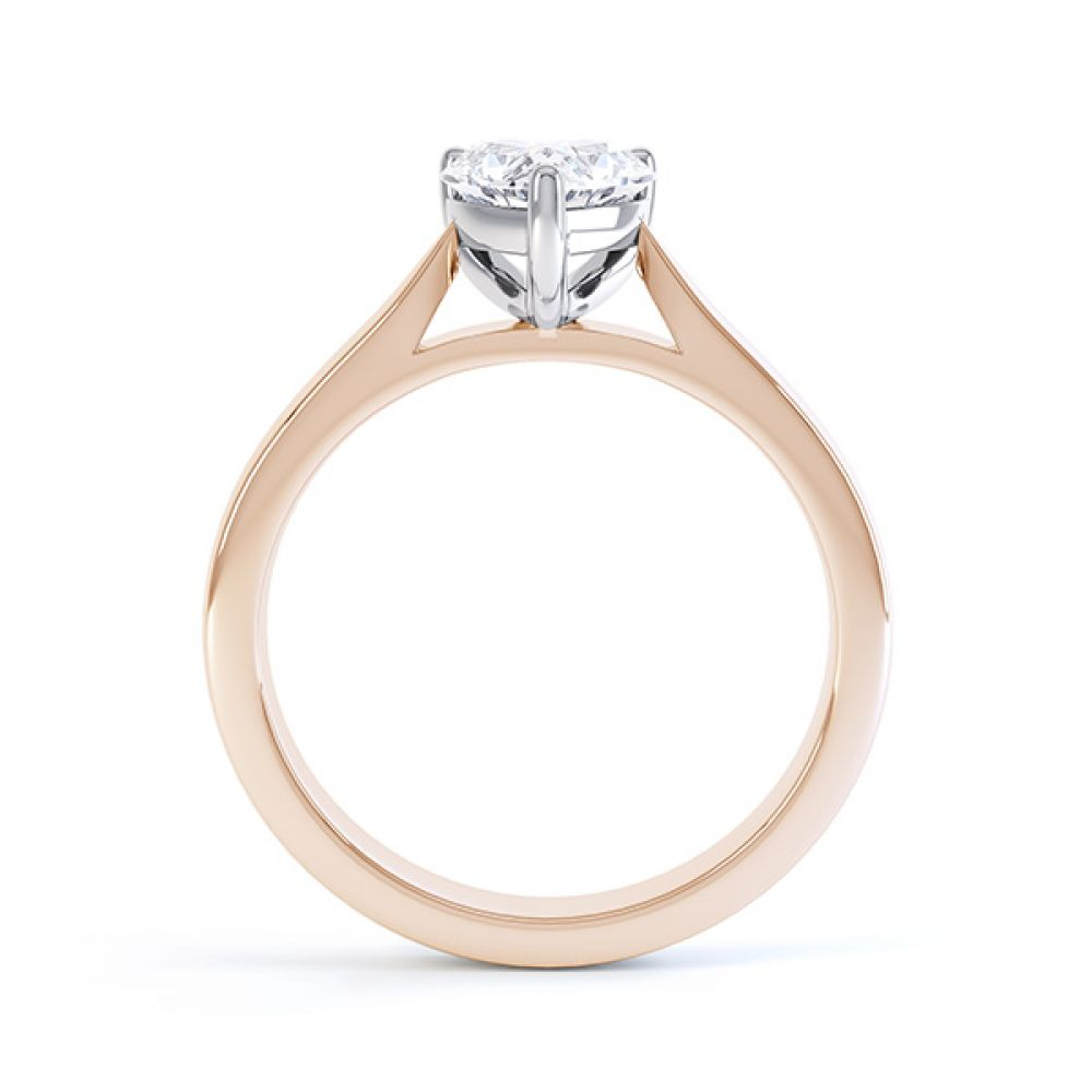 Side View Kama Heart Solitaire Engagement Ring Rose Gold