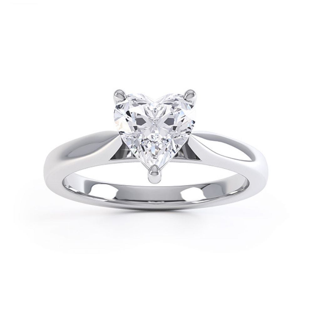 Kama heart shaped solitaire engagement ring white gold top view