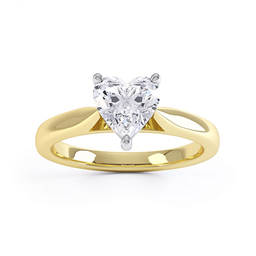 Kama heart shaped solitaire engagement ring yellow gold top view