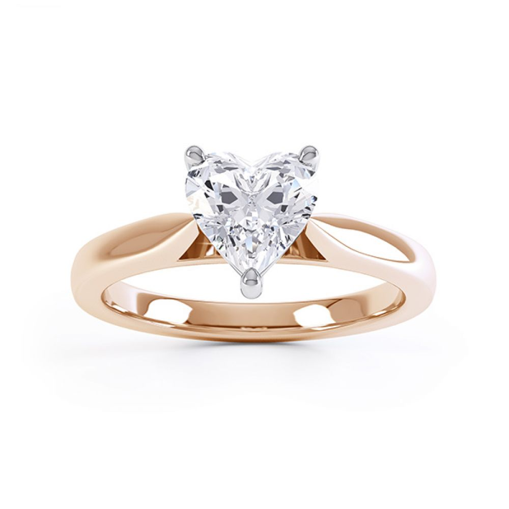 Kama heart shaped solitaire engagement ring rose gold top view