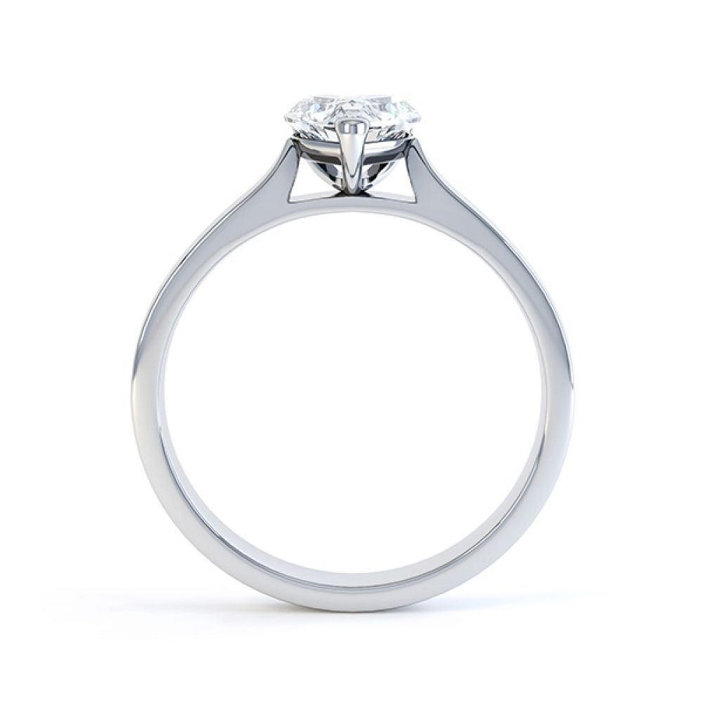 Angel heart shaped solitaire engagement ring white gold side view