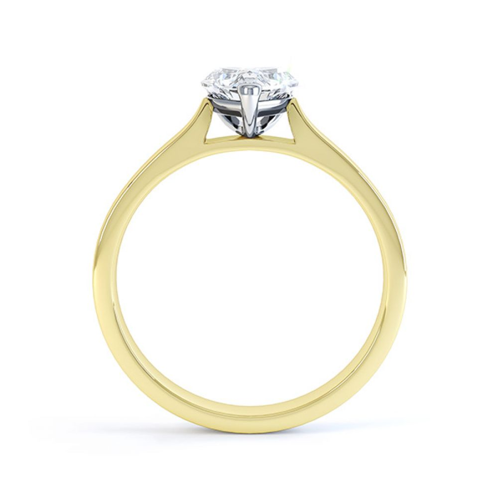 Angel heart shaped solitaire engagement ring yellow gold side view