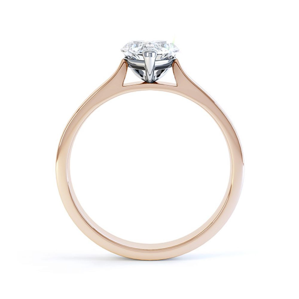 Angel heart shaped solitaire engagement ring rose gold side view