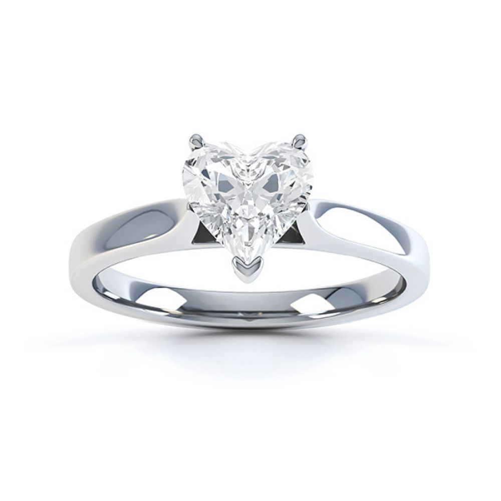 Angel heart shaped solitaire engagement ring white gold top view