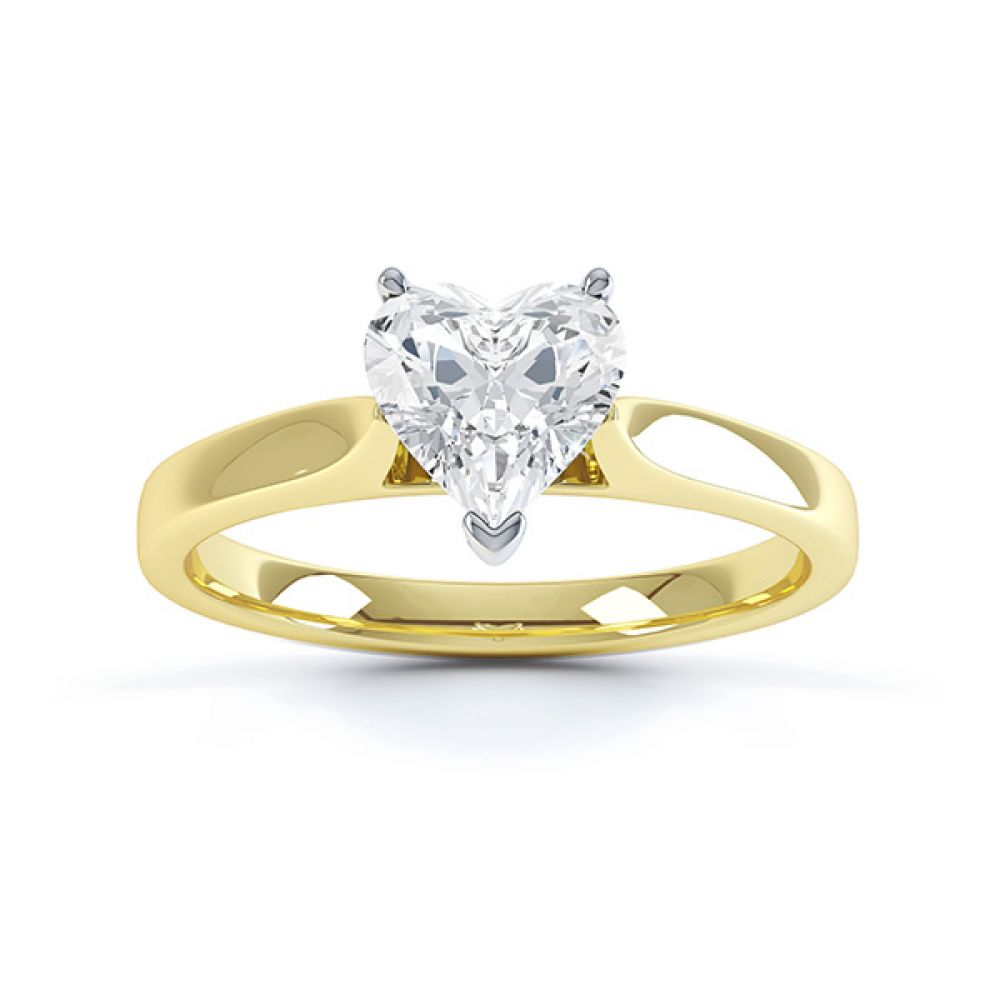 Angel heart shaped solitaire engagement ring yellow gold top view