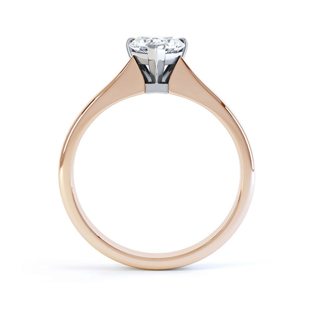 Aphrodite Heart Shaped Diamond Solitaire Engagement Ring Rose Gold Side View