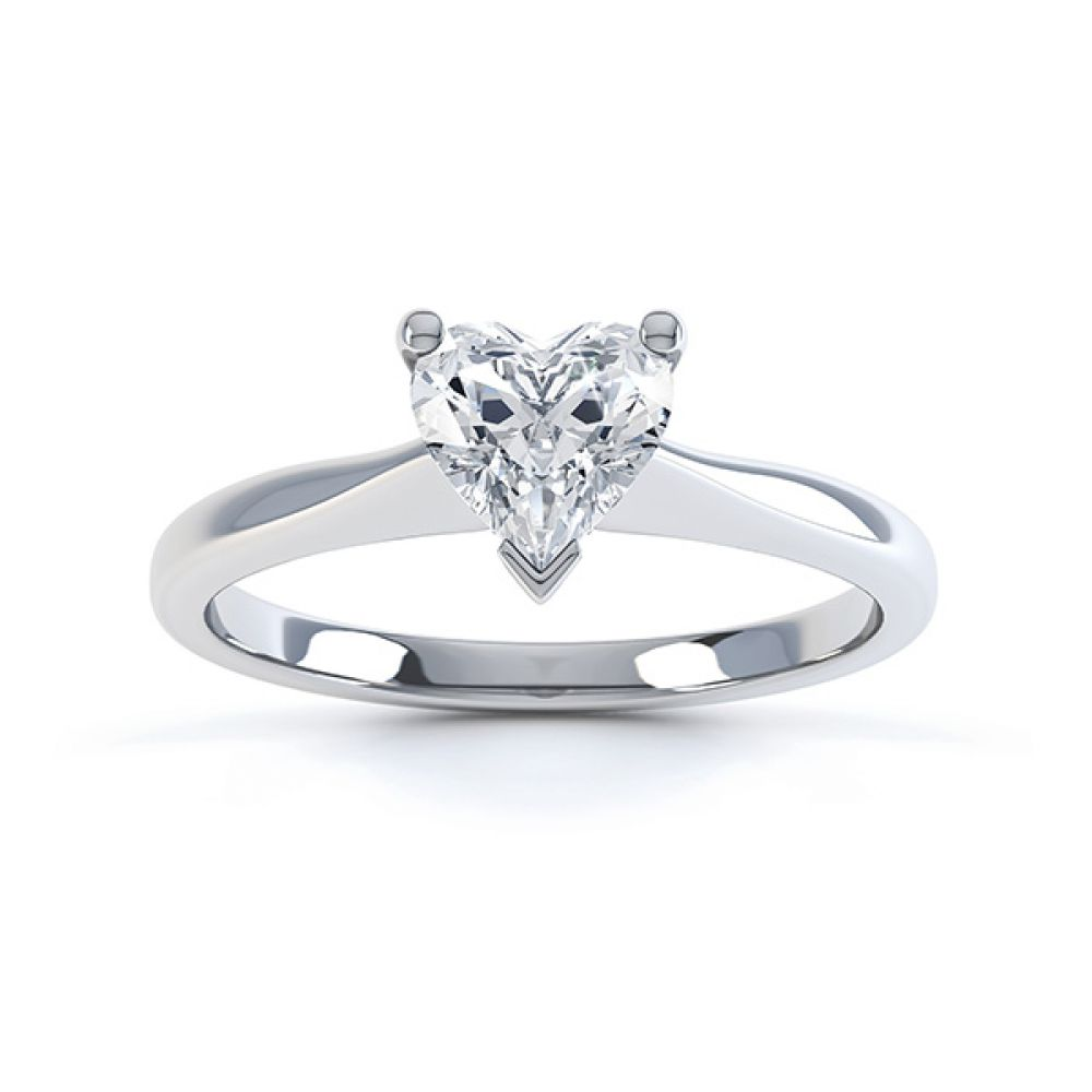Aphrodite Heart Shaped Diamond Solitaire Engagement Ring White Gold Top View