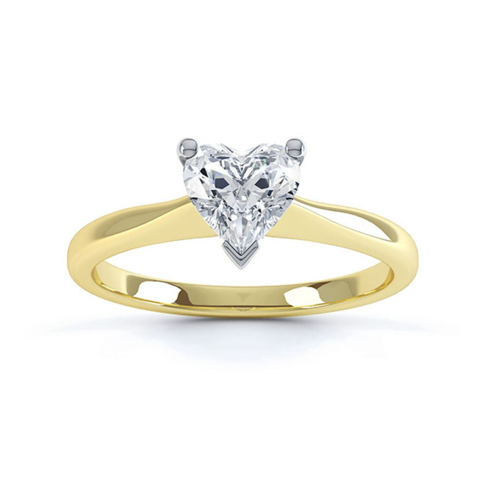 Aphrodite Heart Shaped Diamond Solitaire Engagement Ring Yellow Gold Top View