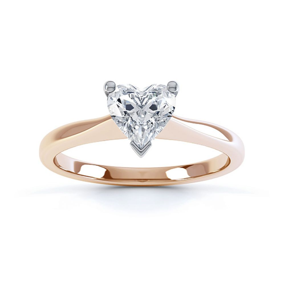 Aphrodite Heart Shaped Diamond Solitaire Engagement Ring Rose Gold Top View