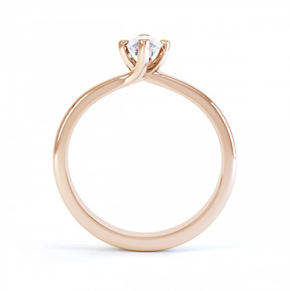 Venice twist marquise solitaire engagement ring side view rose gold