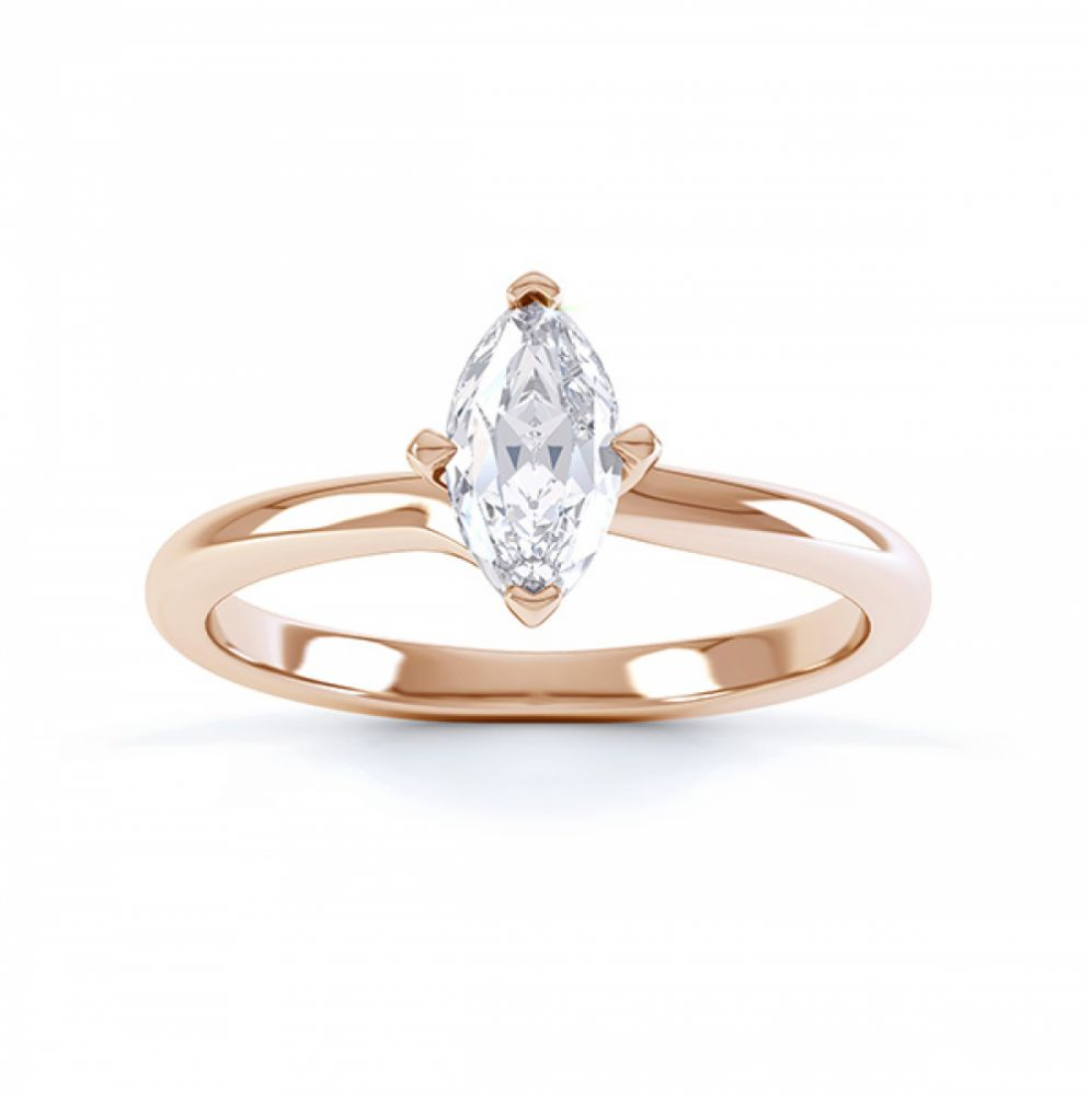 Venice twist marquise solitaire engagement ring top view rose gold