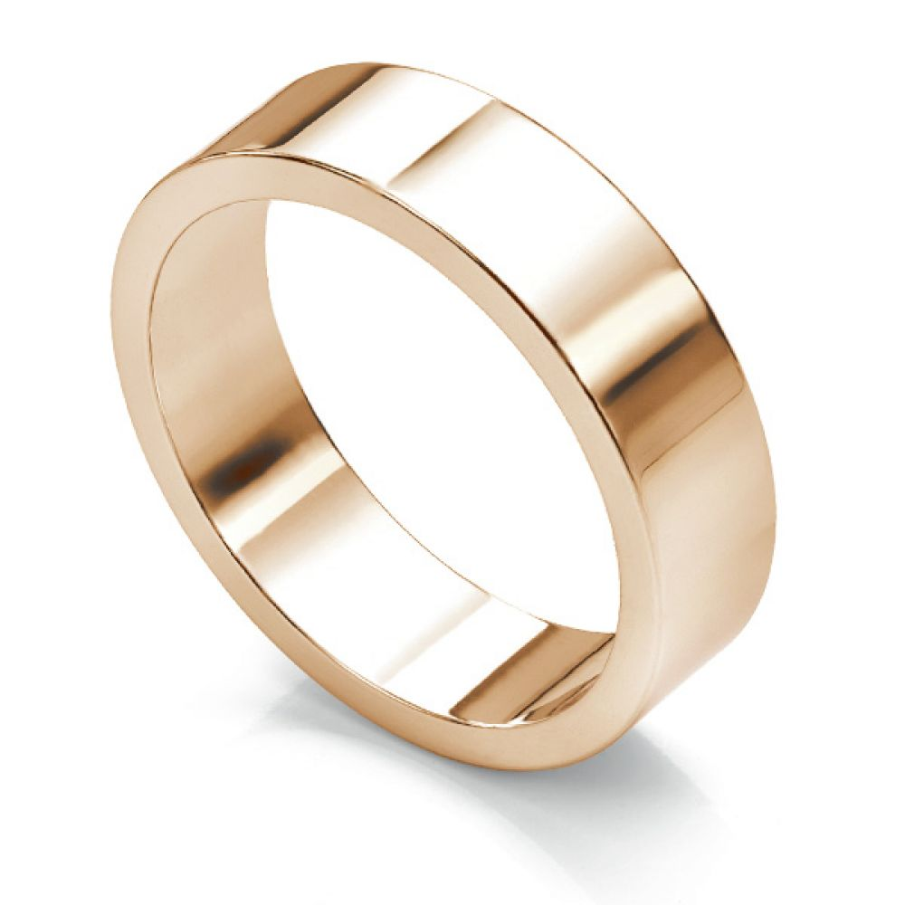 Flat wedding ring 6mm wide In Yellow Gold