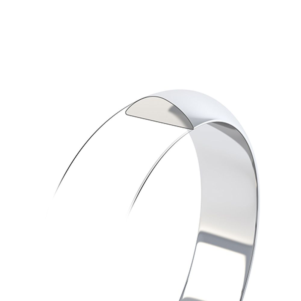 D shaped wedding ring low dome band cross section and profile