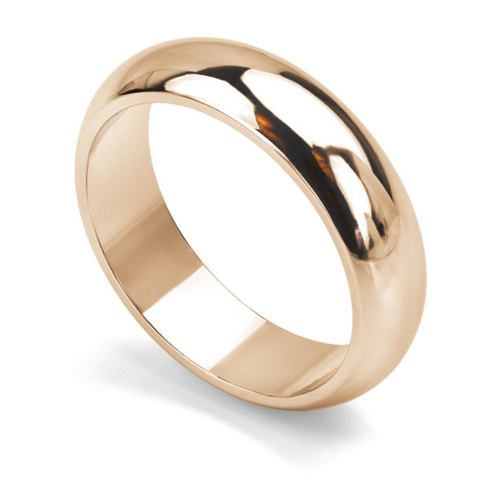 Heavy weight D shaped wedding ring in rose gold