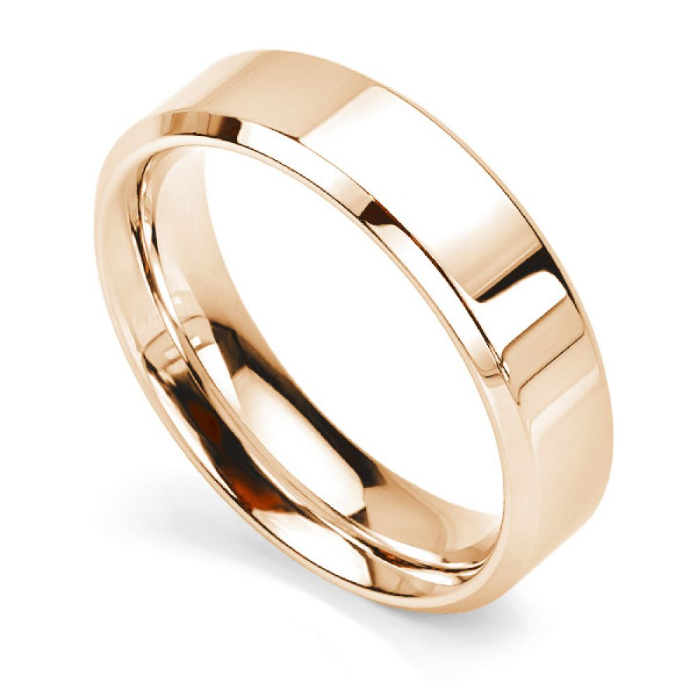 Bevelled Wedding Ring 6mm width, yellow gold