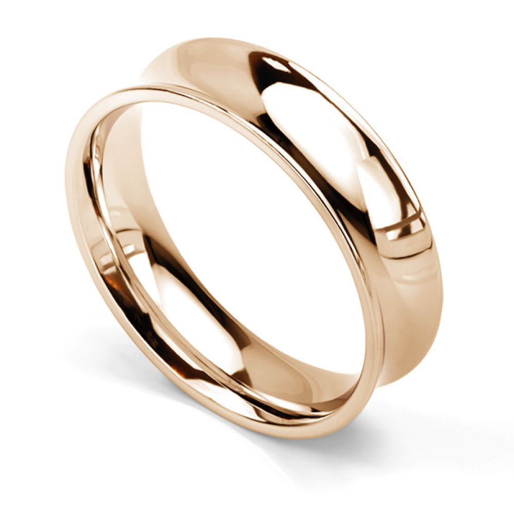 Concave wedding ring 6mm in rose gold