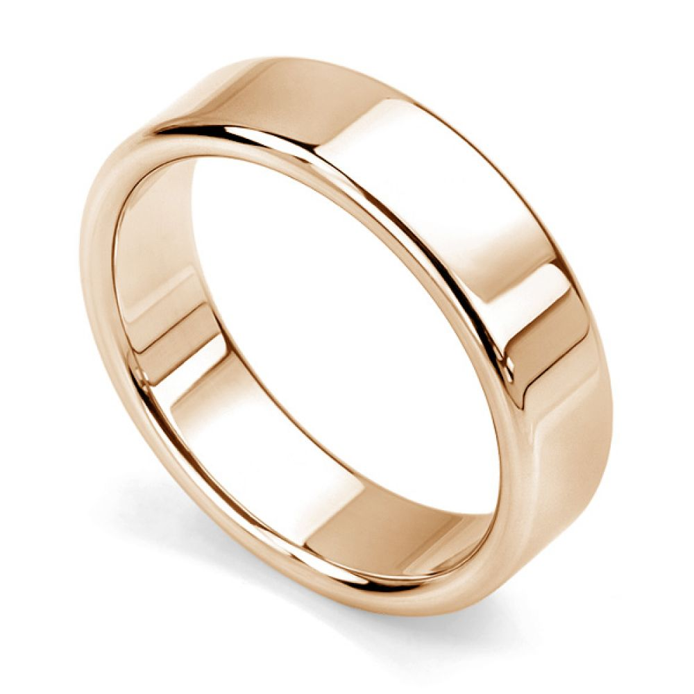 Rounded flat wedding ring rose gold 6mm wide
