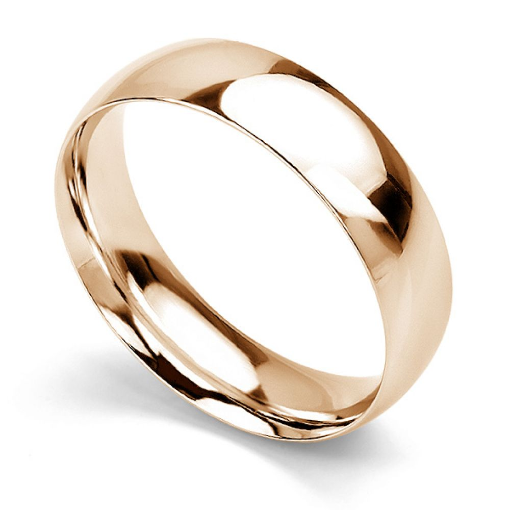 Traditional Court Wedding Ring Medium Weight Rose Gold