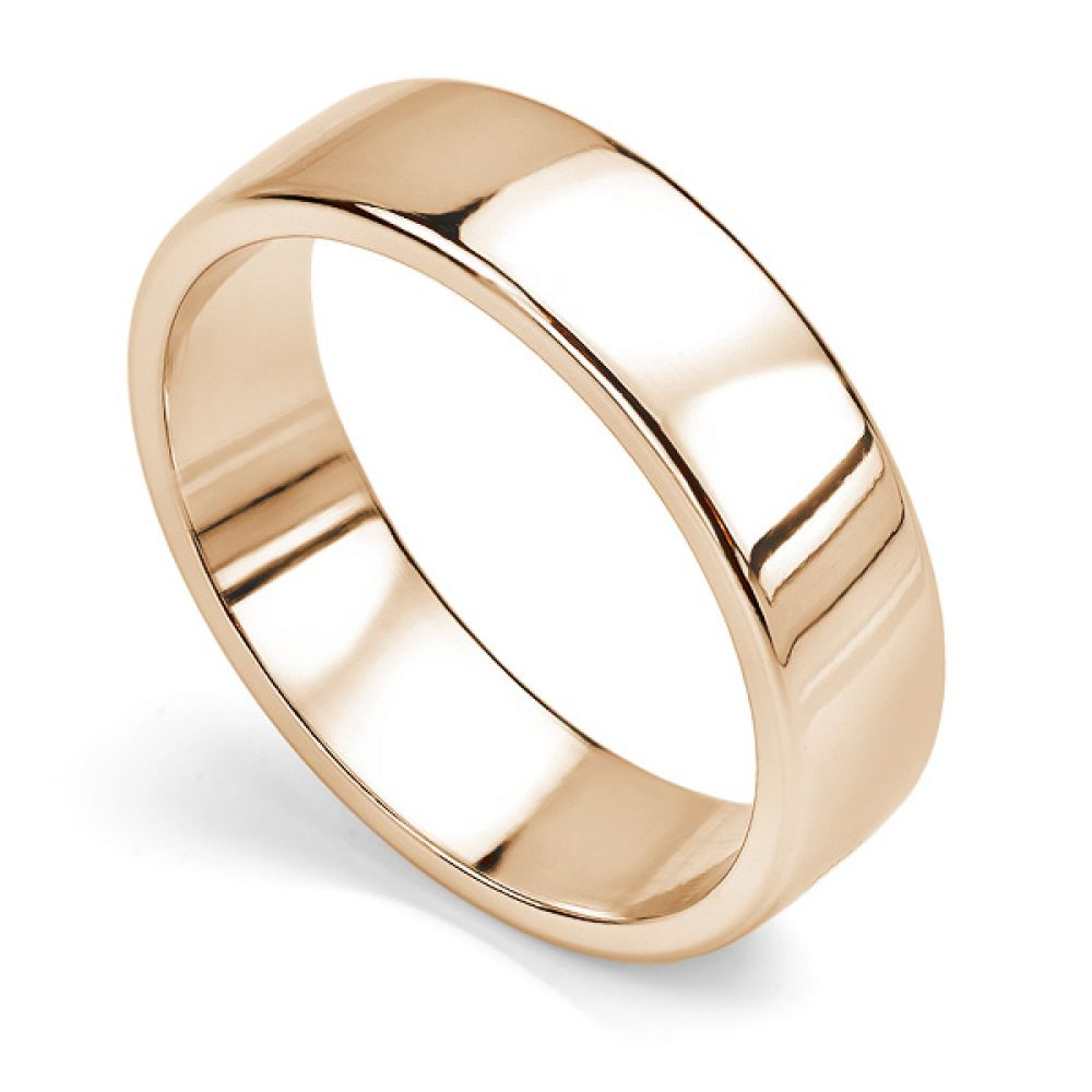 Court wedding ring with flat outer edge rose gold 6mm