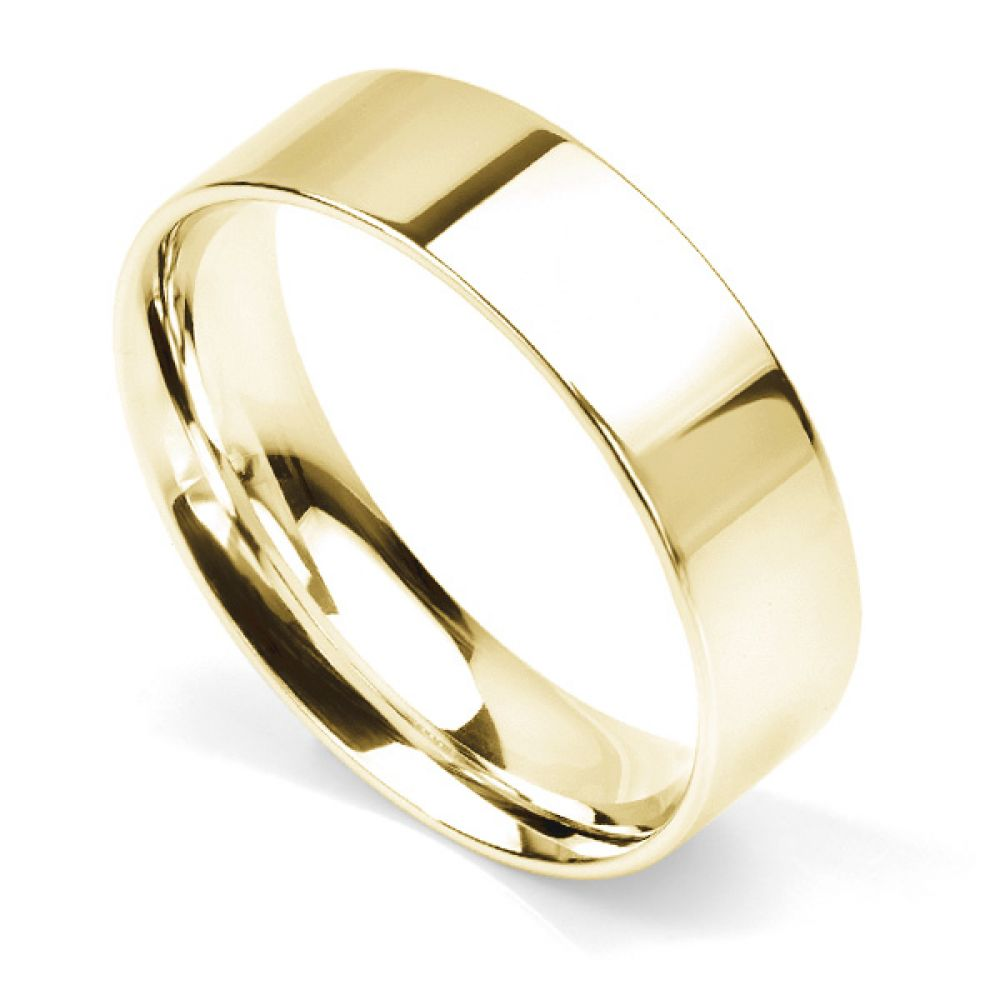 Flat court wedding ring 6mm light weight in Yellow Gold