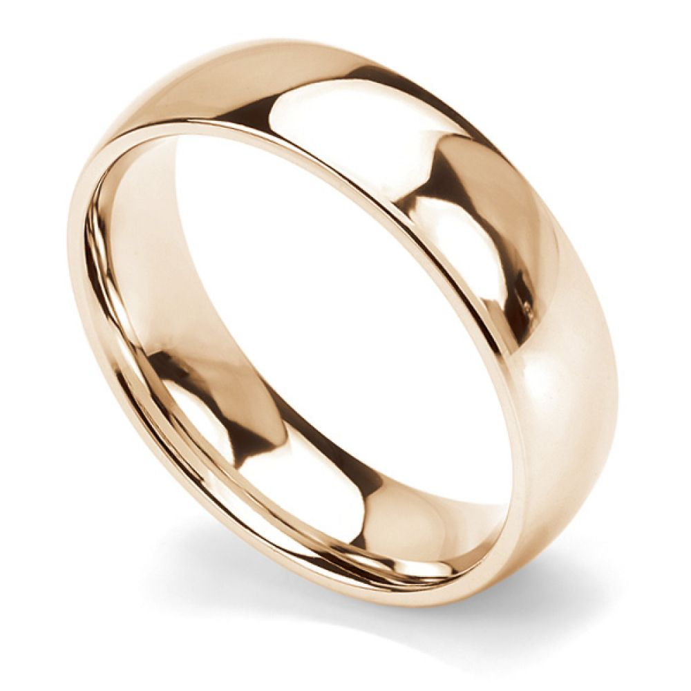 Traditional court wedding ring heavy weight 6mm width rose gold