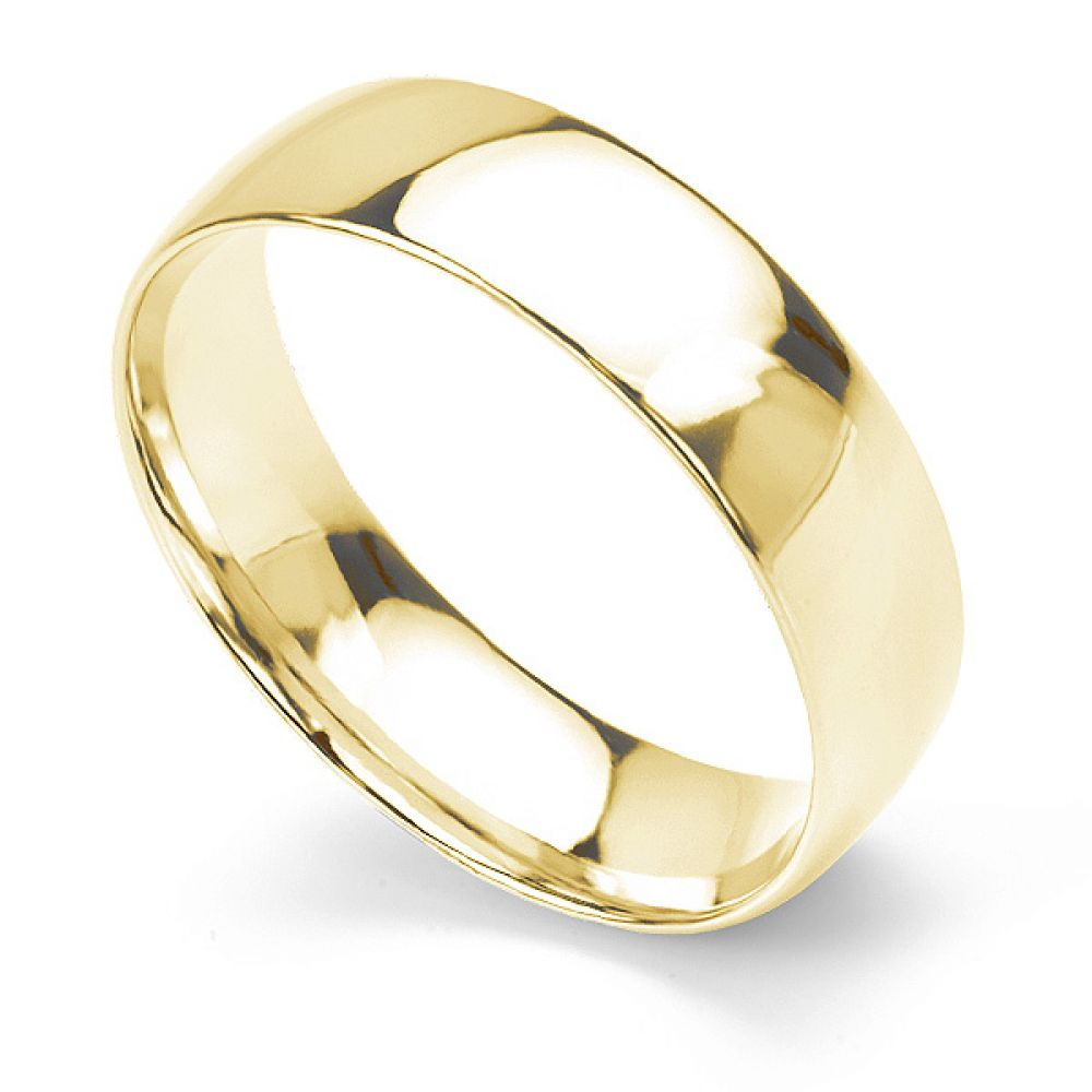 Traditional court wedding ring light weight 6mm in yellow gold