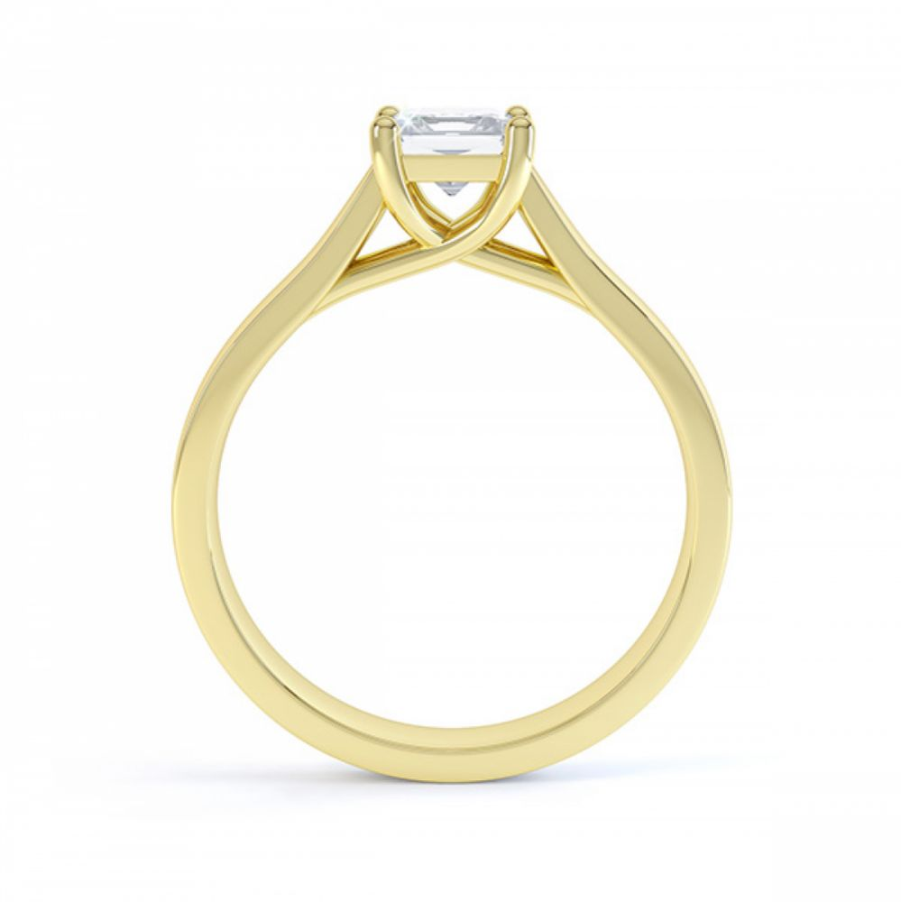 Lucia yellow gold side view with princess cut in four claw setting
