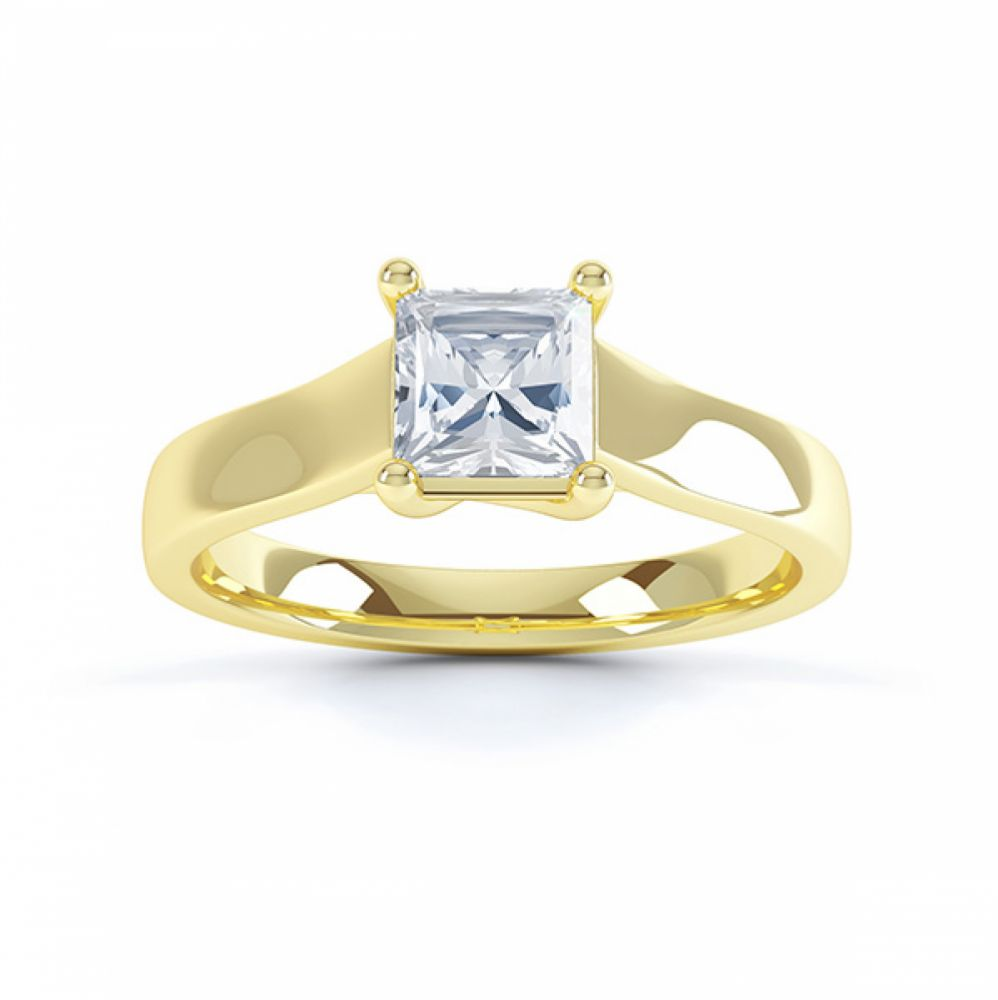Top view of Lucia Lucida style princess cut solitaire engagement ring