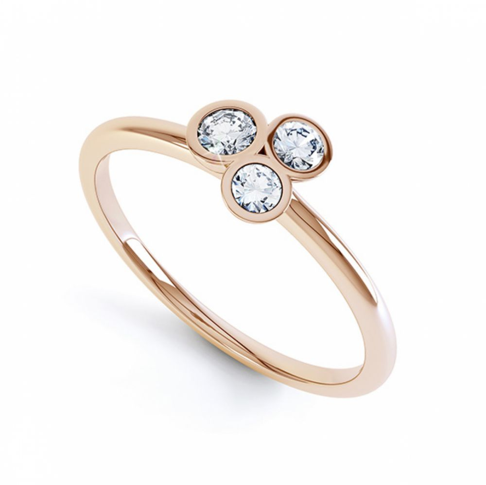 Clover diamond stacking ring in white gold