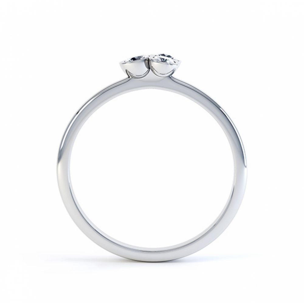 Clover diamond stacking ring in white gold side view