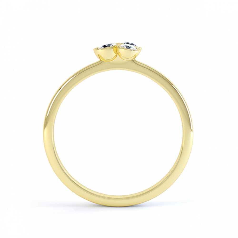 Clover diamond stacking ring in yellow gold side view